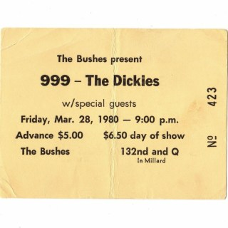 1980 The Dickies and 999 ticket stub from Omaha 50