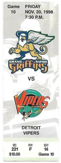1998 Grand Rapids Griffins ticket vs Detroit Vipers