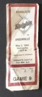 1990 MiLB Charlotte Knights ticket stub vs Greenville Braves