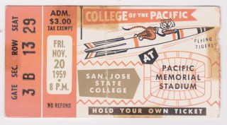 1959 NCAAF Pacific ticket stub vs San Jose State