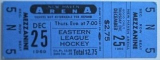 1969 EHL New Haven Blades ticket stub vs Syracuse Blazers