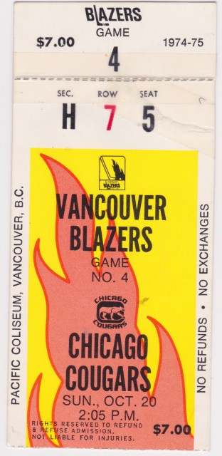 1974 WHA Vancouver Blazers ticket stub vs Chicago