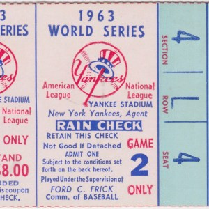 1963 World Series Game 2 ticket stub Dodgers vs Yankees 10/3/1963