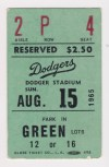 1965 Los Angeles Dodgers ticket stub vs Pirates