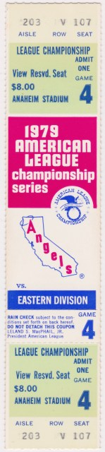 1979 ALCS Game 4 ticket stub Angels vs Orioles 19