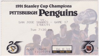 1991 Pittsburgh Penguins ticket stub vs San Jose Sharks 8