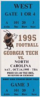 1995 NCAAF Georgia Tech ticket stub vs North Carolina