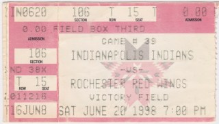 1998 Indianapolis Indians ticket stub vs Rochester Red Wings