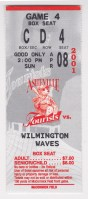2001 Asheville Tourists ticket stub vs Wilmington Waves