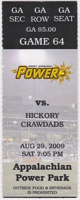 2009 West Virginia Power ticket stub vs Hickory