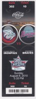 2010 Lehigh Valley Ironpigs ticket stub vs Gwinnett