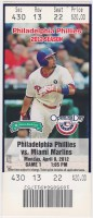 2012 Philadelphia Phillies ticket stub vs Marlins