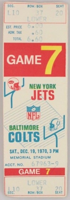 1970 NFL Baltimore Colts vs New York Jets ticket stub