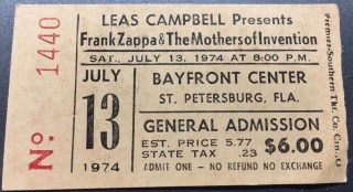 1974 Frank Zappa & The Mothers Concert Ticket Stub St. Petersburg