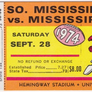 1974 NCAAF Mississippi ticket stub vs Southern Miss 9/28/1974
