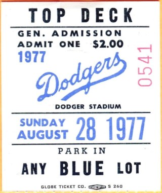 1977 Los Angeles Dodgers ticket stub vs St. Louis Steve Garvey 5555