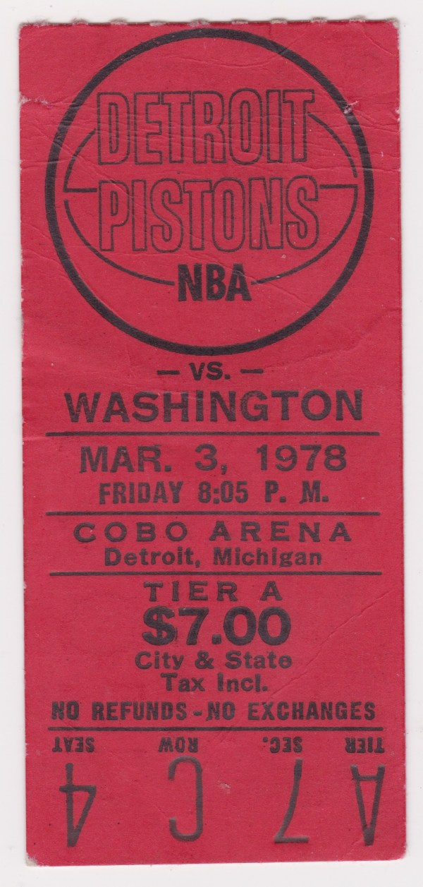 1978 Detroit Pistons ticket stub vs Bullets