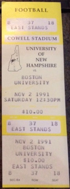 1991 NCAAF New Hampshire ticket stub vs Boston University