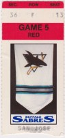 1991 Buffalo Sabres ticket stub vs San Jose Sharks
