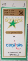 1994 Dallas Stars ticket stub vs Washington Capitals