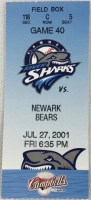 2001 Camden Riversharks ticket stub vs Newark