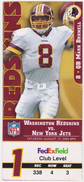 2006 Washington Redskins ticket stub vs Jets