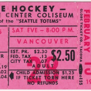 1965 WHL Seattle Totems ticket stub vs Vancouver for sale