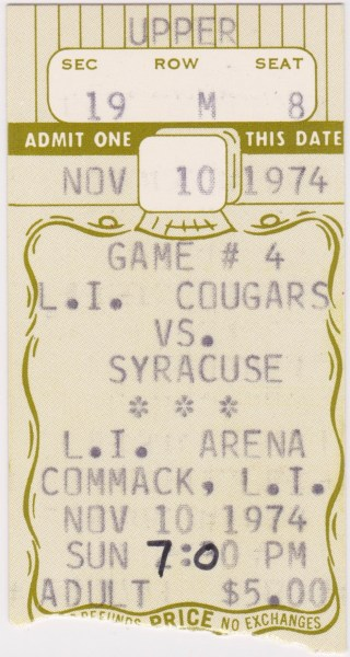 1974 NAHL Long Island Cougars ticket stub vs Syracuse Blazers