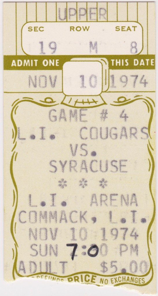 1974 NAHL Long Island Cougars ticket stub vs Syracuse