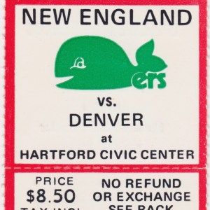 1975 WHA New England Whalers ticket stub Denver Spurs for sale