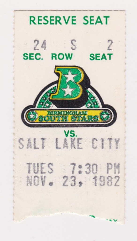 1982 CHL Birmingham South Stars ticket stub vs Salt Lake