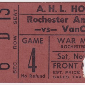 1960s Rochester Americans ticket stub vs Vancouver Canucks for sale