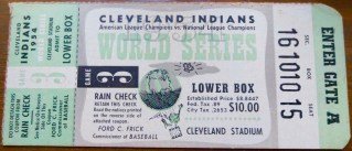 1954 World Series Game 3 Ticket Stub Cleveland Indians vs New York Giants 125
