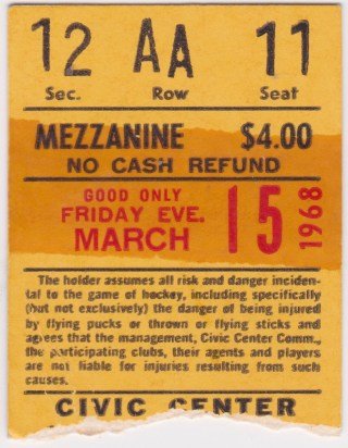 1968 Baltimore Clippers ticket stub 1