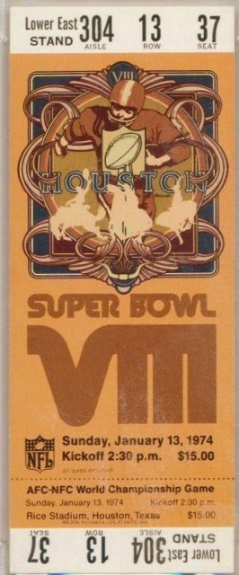 1974 Super Bowl VIII ticket stub PSA 6 Dolphins vs Vikings 185