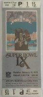 1975 Super Bowl ticket stub Vikings vs Steelers