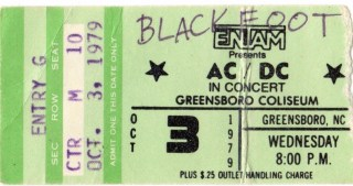 1979 ACDC concert ticket stub Greensboro Coliseum