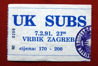 1991 UK Subs Zagreb ticket stub