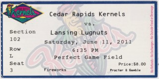 2011 Cedar Rapids Kernels ticket stub vs Lansing