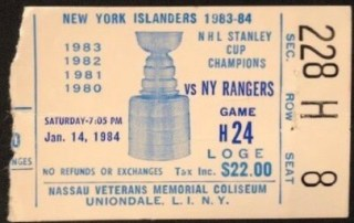 Mike Bossy 400th Career Goal Ticket Stub 15