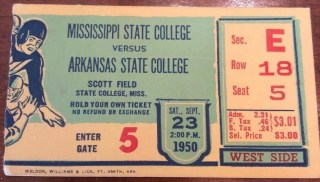 1950 NCAAF Mississippi State ticket stub vs Arkansas State
