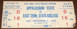 1953 NCAAF E Tennessee State ticket stub vs Appalachian State