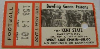 1987 NCAAF Bowling Green ticket stub vs Kent State