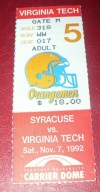 1992 NCAAF Syracuse Orangemen ticket stub vs Virginia Tech