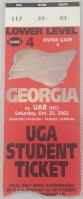 2003 NCAAF Georgia Bulldogs ticket stub vs UAB