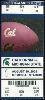 2008 NCAAF California Bears ticket stub vs Michigan State