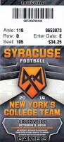 2014 NCAAF Syracuse University ticket stub vs Louisville