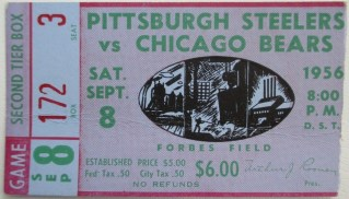 1956 NFL Forbes Field Pittsburgh Steelers vs Chicago Bears ticket stub 45