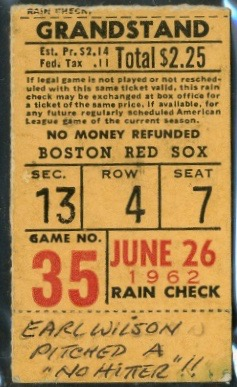 1962 Earl Wilson No Hitter ticket stub