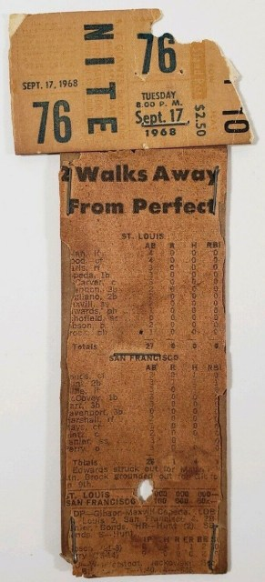 1968 Gaylord Perry No Hitter ticket stub